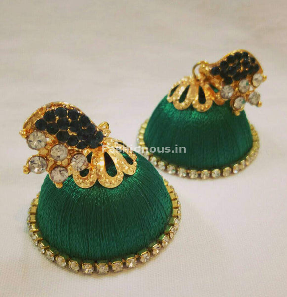 White Stone Half Floral With Dark Green Stone Studded Leaf Silk Thread Jhumkas-STJH-013