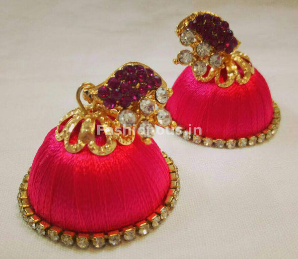 White Stone Half Floral With Dark Pink Stone Studded Leaf Silk Thread Jhumkas-STJH-004