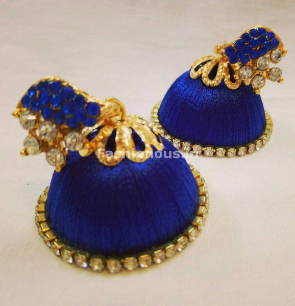 White Stone Half Floral With Ink Blue Stone Studded Leaf Silk Thread Jhumkas-STJH-009