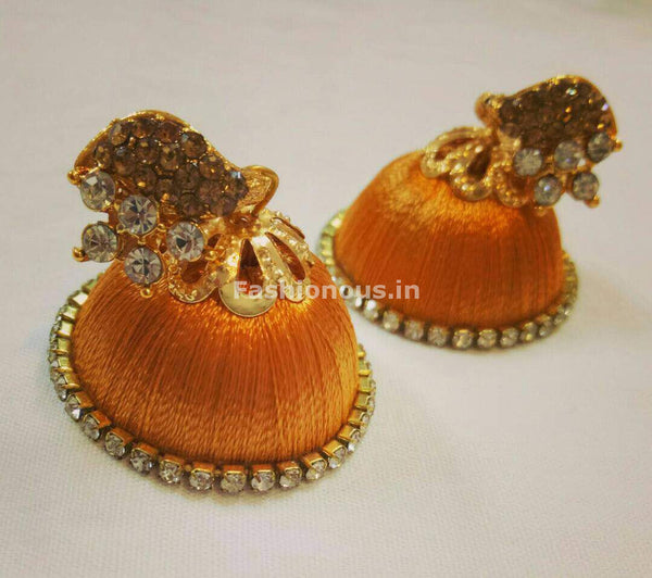 White Stone Half Floral With Light Orange Stone Studded Leaf Silk Thread Jhumkas-STJH-008