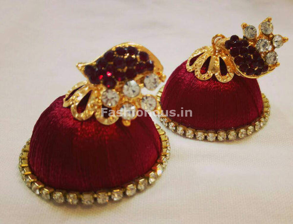 White Stone Half Floral With Maroon Stone Studded Leaf Silk Thread Jhumkas-STJH-002