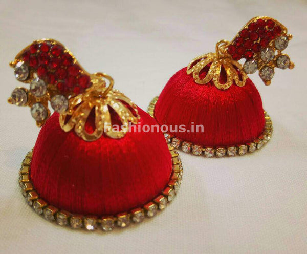 White Stone Half Floral With Red Stone Studded Leaf Silk Thread Jhumkas-STJH-003