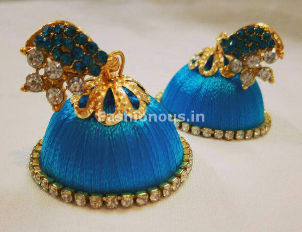 White Stone Half Floral With Sky Blue Stone Studded Leaf Silk Thread Jhumkas-STJH-011