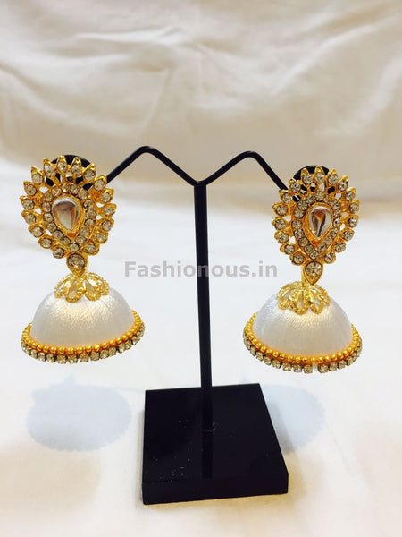White Stone Studded Droplet Silk Thread Jhumkas-STJH-016