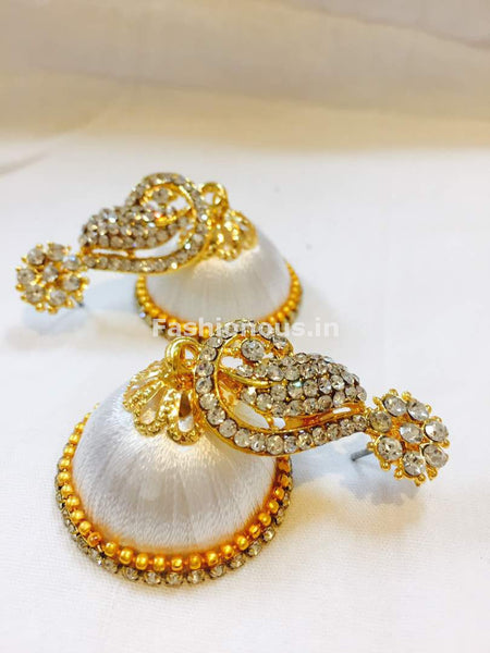 White Stone Studded Peacock Neck Floral Silk Thread Jhumkas-STJH-047
