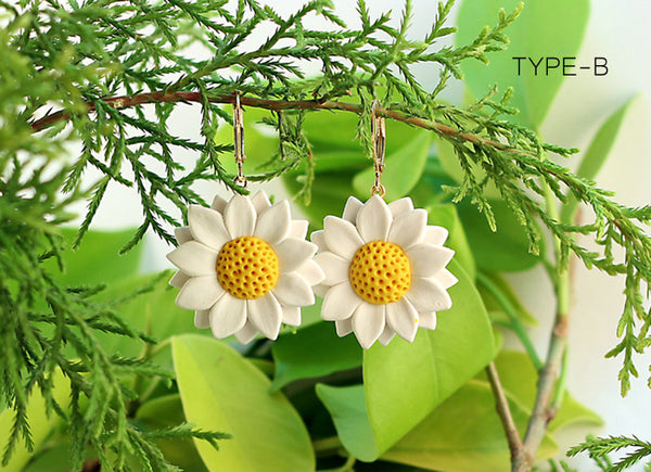 White Sunflower Polymer Clay Earrings