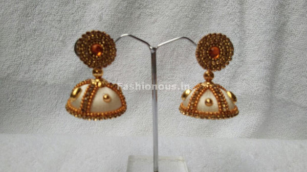 White and  Golden Beaded Silk Thread Jhumkas-STJH-065