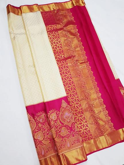 White and Pink Kanchipuram Silk Saree KRSS 005