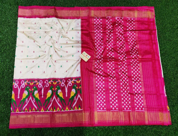 White and Pink with Parrot border Ikkat Silk Saree