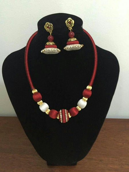 White and Red Silk Thread Jewellery Set