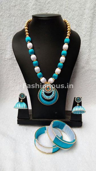 White and Sky Blue Chandbali Pendant Silk Thread Jewellery Set-STJS-014