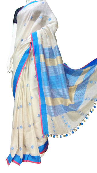White with Blue Border Linen Saree