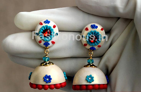 White with Blue Floral Jhumka-ZAPCJH-005
