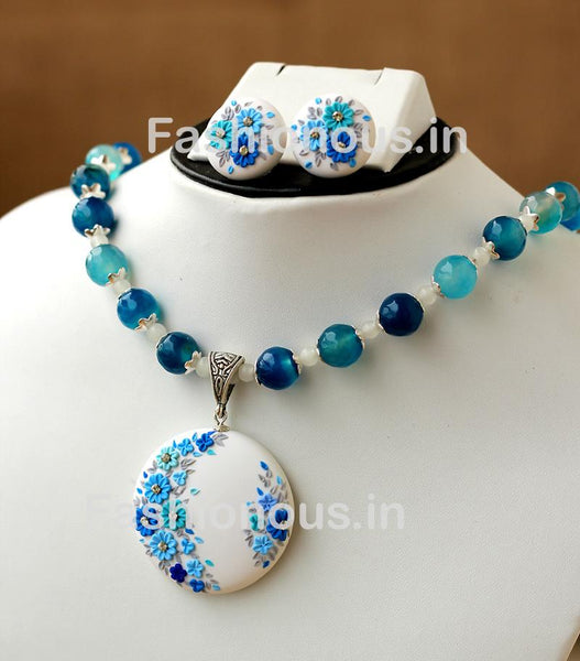White with Blue Floral Pendant with Semi Precious Beads and Earrings-ZAPCNS-053