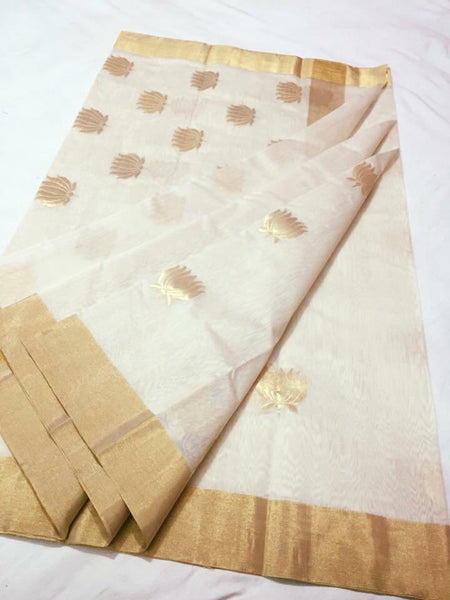 White with Golden Lotus Designed Zari Border Chanderi Silk Saree-CHANSRE-047