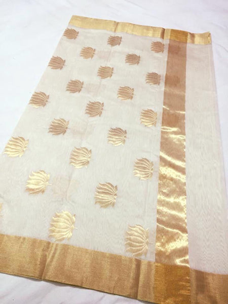 White with Golden Lotus Designed Zari Border Chanderi Silk Saree