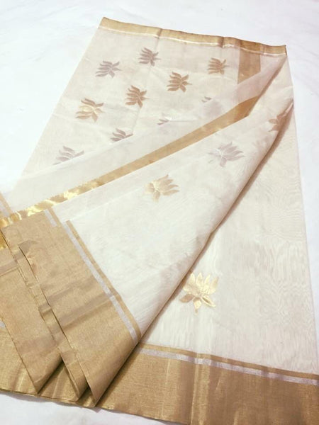 White with Golden and Silver Lotus Designed Chanderi Silk Saree-CHANSRE-041