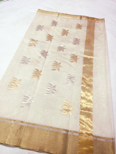 White with Golden and Silver Lotus Designed Chanderi Silk Saree