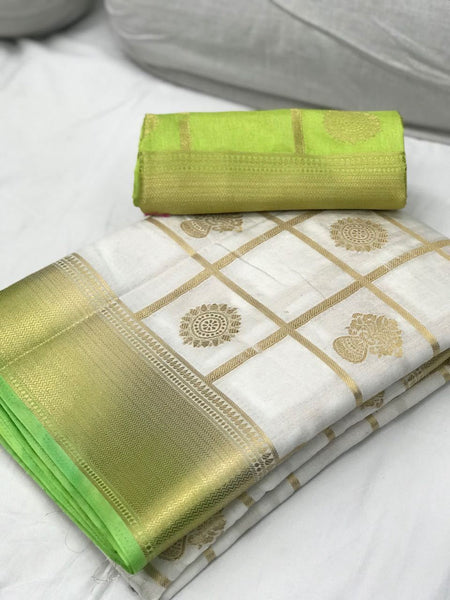 White with Light Green Border Banarasi Silk Saree-SRE-1105 white coloured festival saree