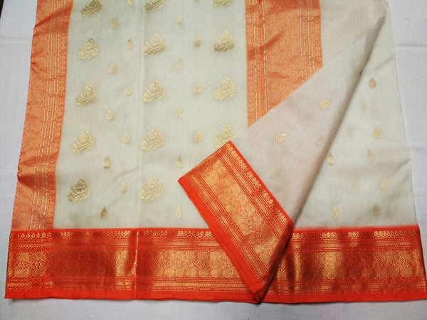 White with Orange Zari Border Chanderi Silk Saree-CHANSRE-002