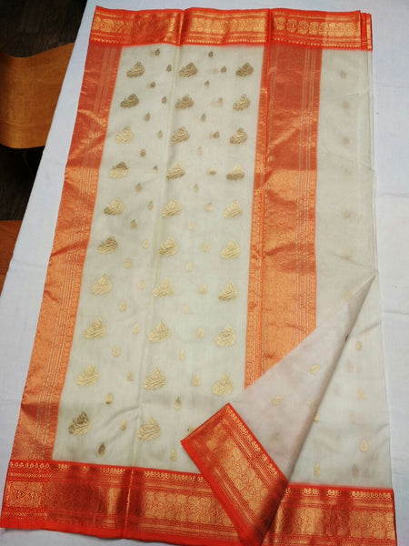 White with Orange Zari Border Chanderi Silk Saree