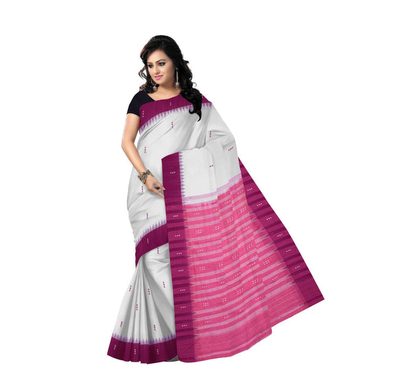 White with Pink Pallu Handloom Cotton Saree-OSS288