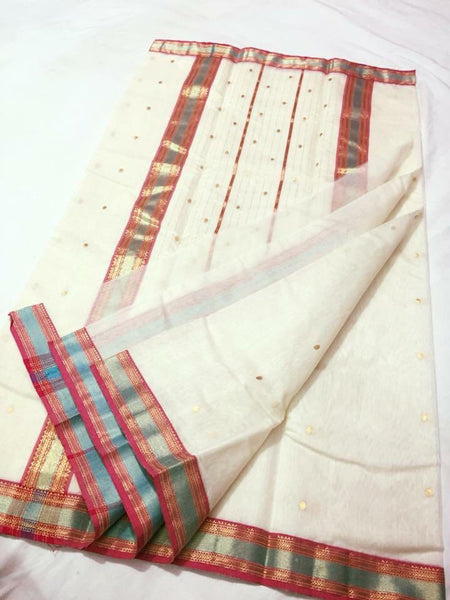 White with Pink and Blue Zari Border Chanderi Silk Saree-CHANSRE-063