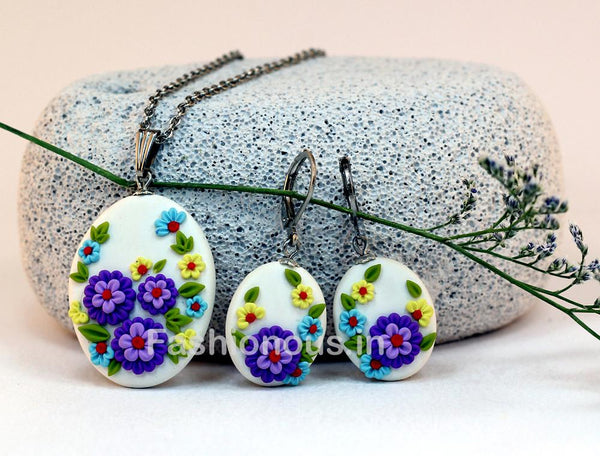 White with Purple Floral Embroidery Necklace and Earrings-ZAPCNS-016