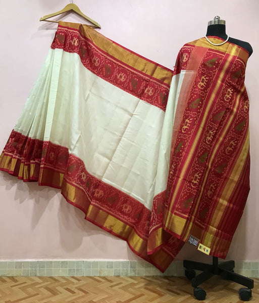 White with Red Elephant Designed Border Patola Silk Saree-PPSRE-040