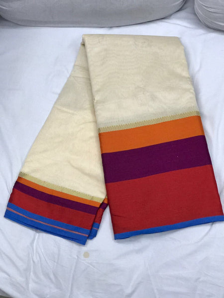 White with Tricolor Border Silk Cotton Saree-SRE-381