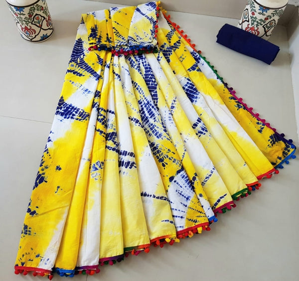 Yellow-Blue Cotton Saree-TCS038