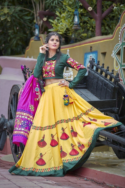 Yellow-Green Dancing Radha Lehenga