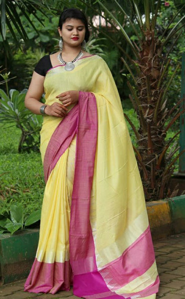 Yellow-Pink Linen Saree (Blend)-LN404
