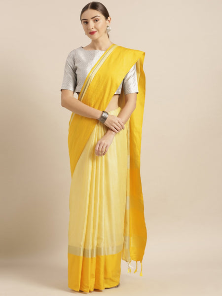 Yellow Attractive Big Border Angolla Linen Saree (Blend)