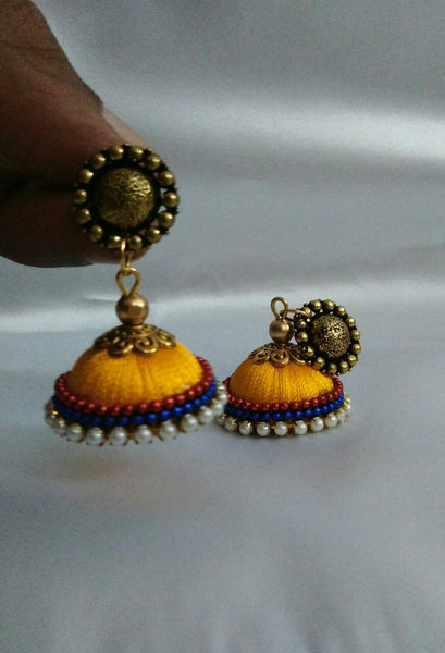 Yellow Antique Silk Thread Jhumkas