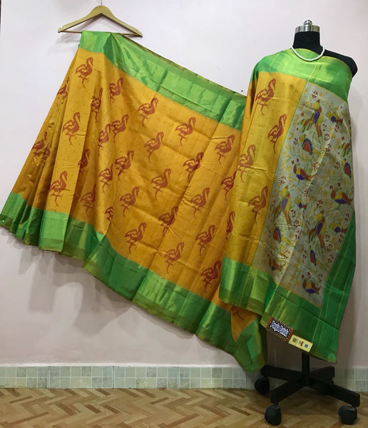 Yellow Bird Designed with Green Border Patola Silk Saree-PPSRE-063