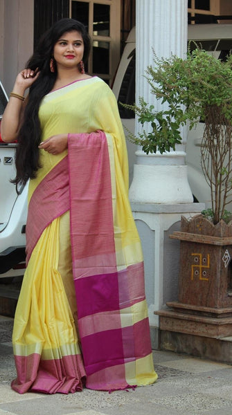Yellow Daffodil Linen Saree with Pink Border-LN201