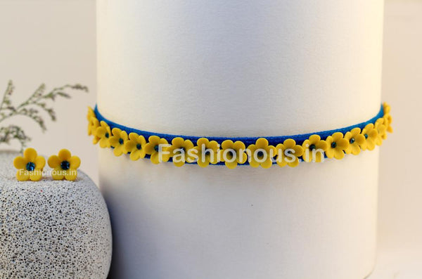 Yellow Floral Choker and Studs-ZAPCNS-022