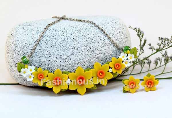 Yellow Floral Mini Collar Set-ZAPCNS-030