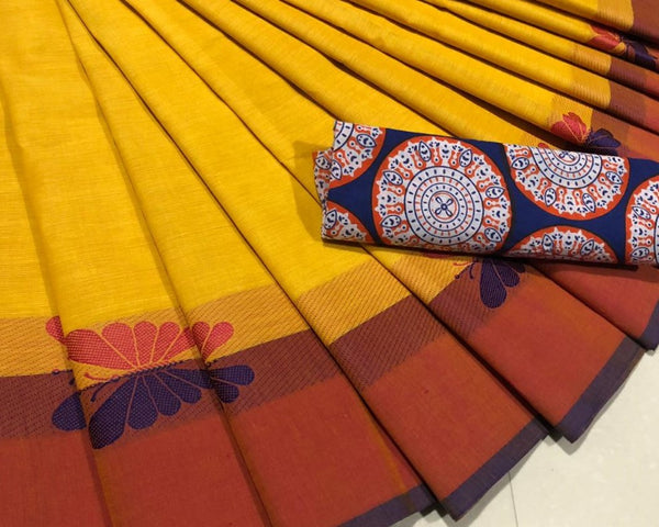 Yellow Cotton Saree with Butterfly Motif