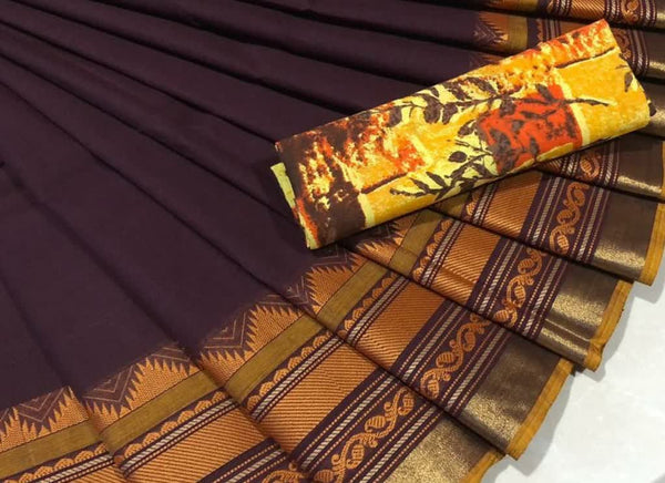 Metal Brown Pure Cotton with Yellow Kalamkari blouse CPC 011
