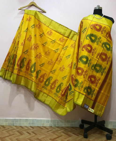 Yellow Mango Designed with Golden Border Patola Silk Saree-PPSRE-007