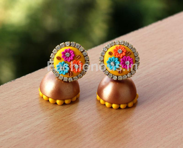 Yellow Multi Floral Golden Jhumka-ZAPCJH-030