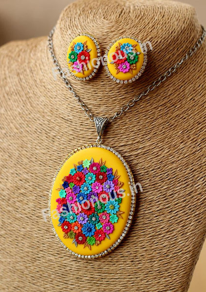 Yellow Multi Floral Necklace and Earrings-ZAPCNS-054