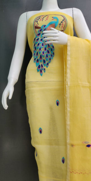 Yellow Peacock Embroidered Kota Dress Material