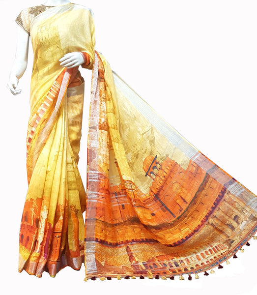 Yellow Printed Linen Saree