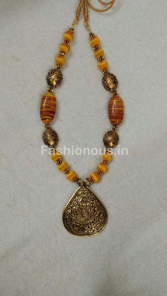 Yellow Silk Thread Beads with Golden Ganesh Oxidised Pendant-OXDJSW-025