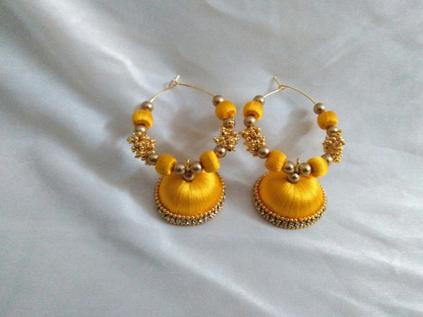 Yellow Silk Thread Earrings