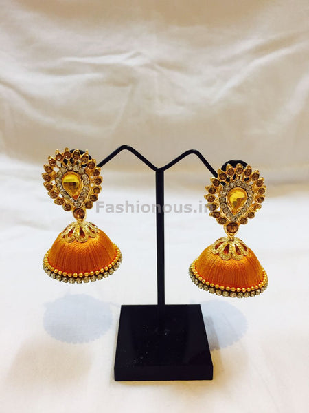 Yellow Stone Studded Droplet Silk Thread Jhumkas-STJH-018