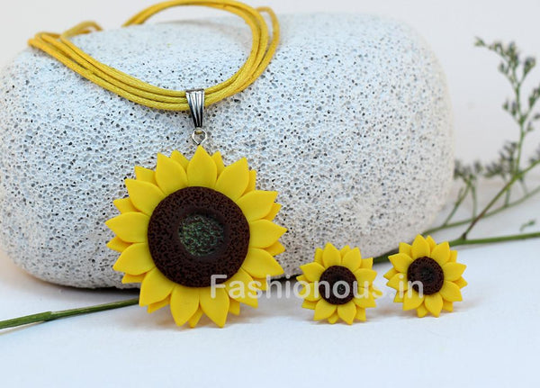 Yellow Sunflower Necklace and Earrings-ZAPCNS-007